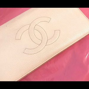 Vintage white logo Chanel wallet